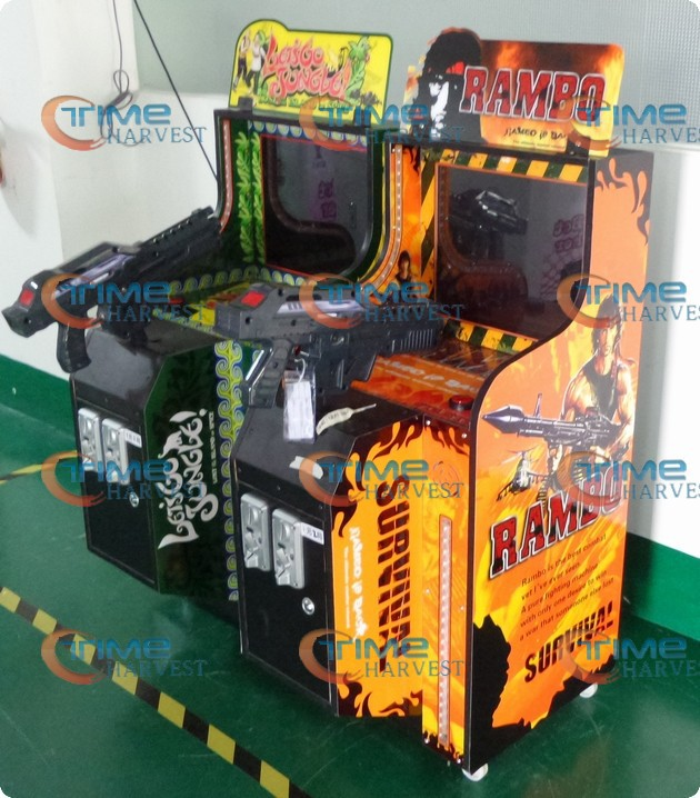 19 inch LCD children shooting game machine MINI firing game arcade cabinet LOST GO JUNGLE or RAMBO shoot game machine for kiddie(China (Mainland))