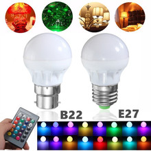 Buy RGB LED Light Bulb E27 B22 3W 16 Colors Changing Magic Lamp Spotlight Bulb IR Remote Control Holiday Lighting Decor 85-265V for $1.04 in AliExpress store