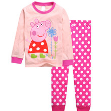 knitted cotton 100% toddler kid pajamas set  with cute cartoon pattern piggy