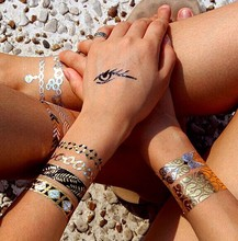 New Fashion Golden Bronzing waterproof tattoo stickers different design nice gift for women man T001