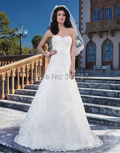 Sweetheart Wedding Dresses Top Lace 2015 Bridal Gowns Princess Vestido Branco Fabulous Custom Made Size 2-16 WL3109 - Full Romantic store