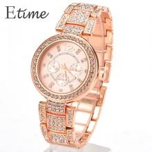 2015 New Fashion Geneva Watch Women Dress Watches Rose gold Full Steel Analog Quartz men Ladies Rhinestone Wrist watches 58#