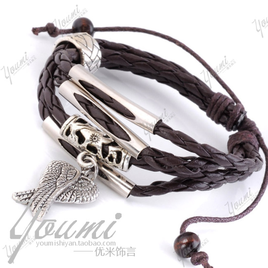 Fashion vintage non-mainstream fashion wings serpentine pattern leather bracelet accessories - enquan zhang's store
