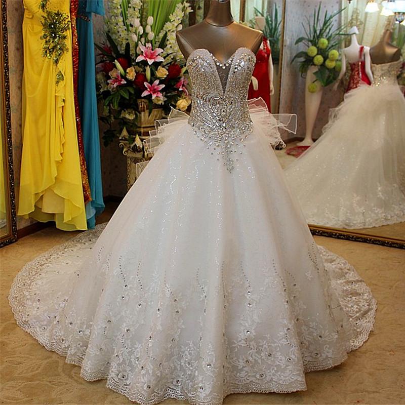 Top Luxury Wedding Dress : Empire strapless top luxury big train wedding dress bridal