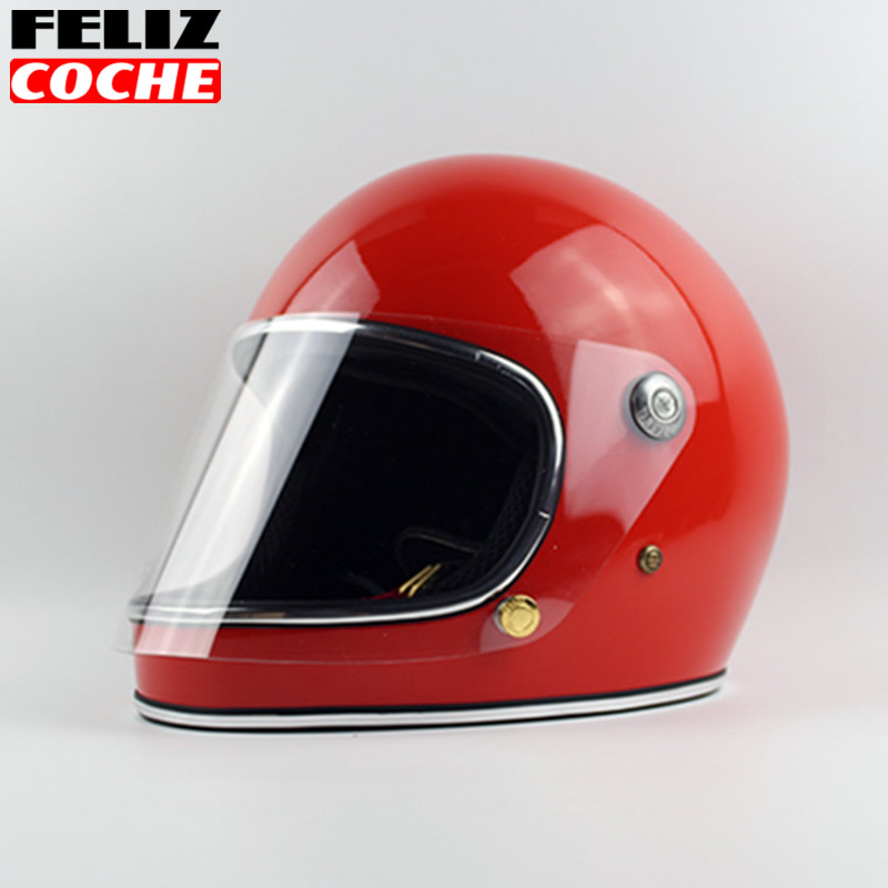 Japan Thompson Men Motorcycle Helmet Vintage Full Face Motorcycle Helmet With Lens Ghost Rider Racing Shiny Helmets TT& CO A2334