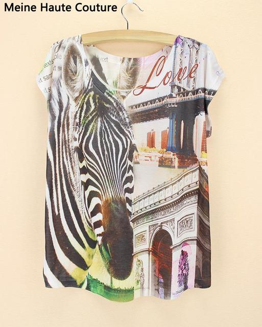 Скидка Новый 2016 Высокое качество женщины новинка Тройники Blusas Топы зебра печати футболка женская футболка триумфальная арка шаблон футболка