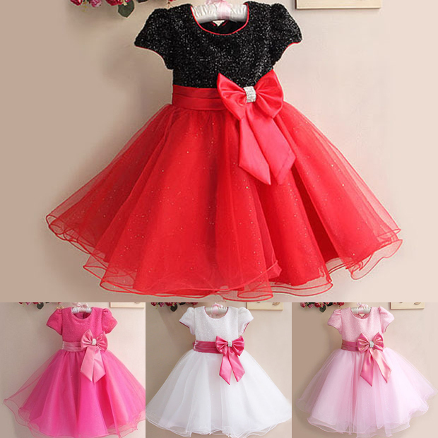 1Pc Retail NEW 2015 Summer Girl Dress Elegant Dress Party Baby Girl Princess Dress Children Clothing Christmas Dress 14 Colors(China (Mainland))