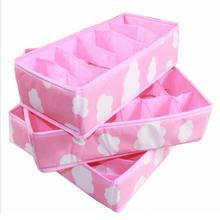 2016 New 3 In 1 Pink Grid Pattern Folding Storage Box Bag Bra Underwear Necktie Sock Fashion Convenient Folding Storage(China (Mainland))