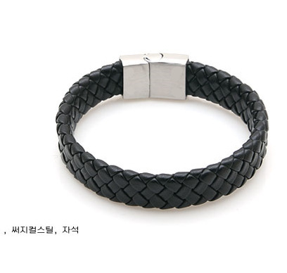 Fashion Jewelry Black Braided Leather Bracelet Men Stainless Steel Silver Bracelets Bangles De Couro Pulseiras Masculinos YK2057(China (Mainland))