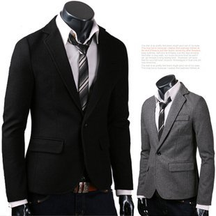 Free Shipping Men's Brand Blazer Suit Leisure Fit style  Woolen Jacket One Button High Quality Black Grey M-XXL XZ09