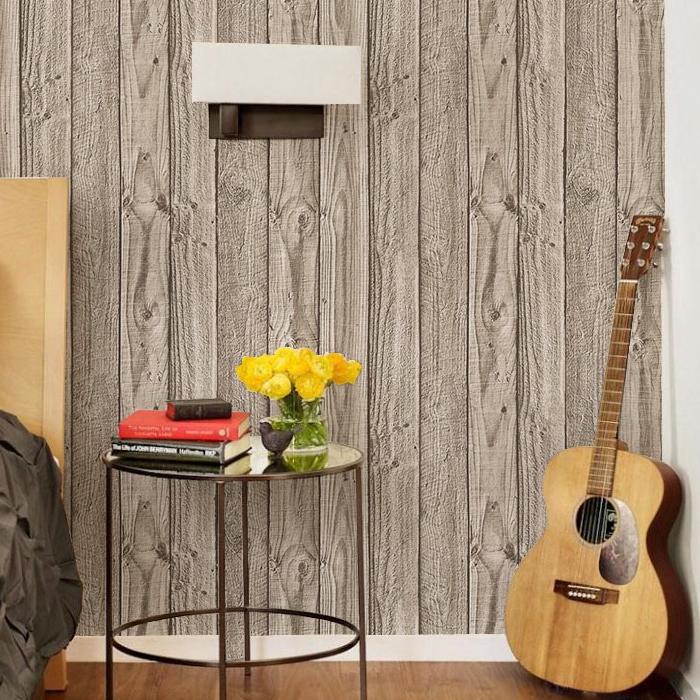 Grey wide wood board stripe wallpaper modern pvc vinyl for Wide wallpaper home decor