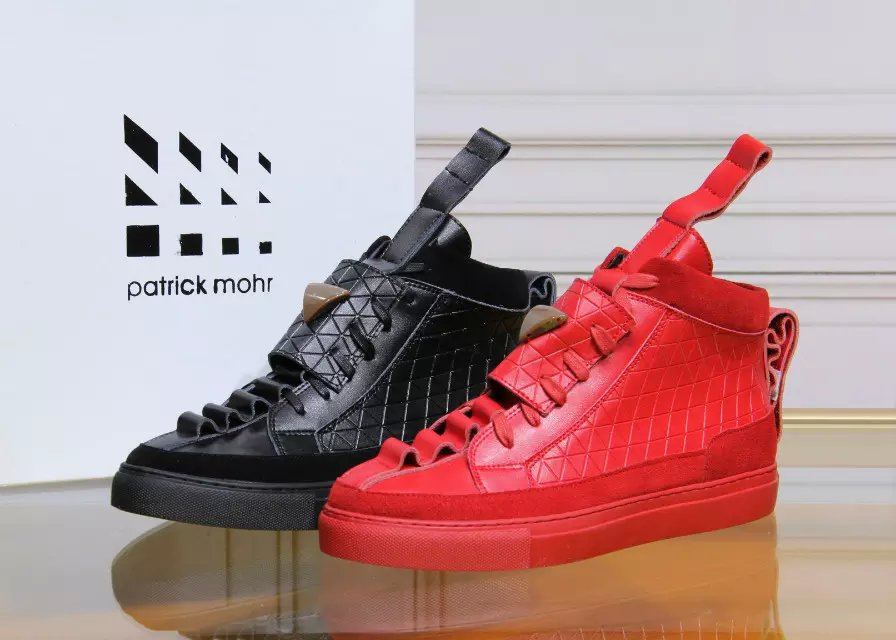 brand Patrick Moore man flat triangles shoe leather, nubuck trend red black cow leather casual shoes