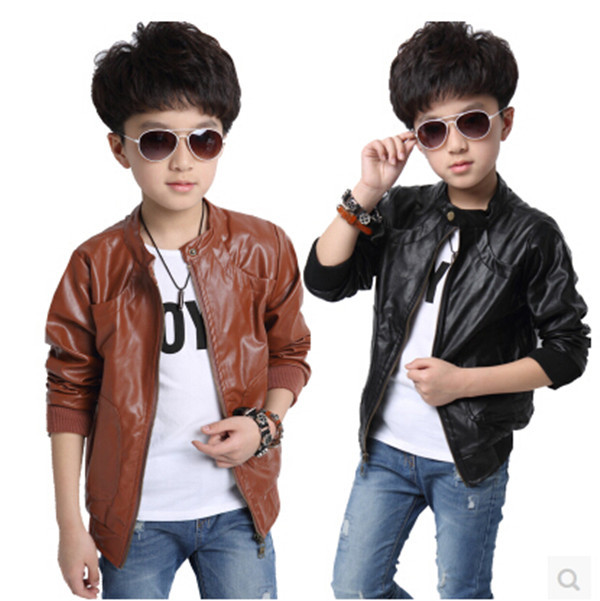 boys black leather jacket Picture - More Detailed Picture about ...