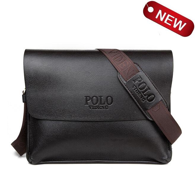 Hot sale new 2015 polo bag men genuine leather shoulder bag black brand men messenger bags brown Large package wholesale V25B46(China (Mainland))