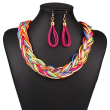 Newest Design Punk Style Colorfull Big Choker Bib Collar Necklace Alloy Twist Statement Jewelry Set For Women Party Gift N2856(China (Mainland))