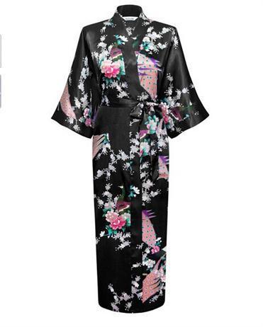 Hot Sale Black Satin Robes Gown Women Kimono Yukata Sexy Lingerie Print Flower Sleepwear Plus Size XXXLОдежда и ак�е��уары<br><br><br>Aliexpress