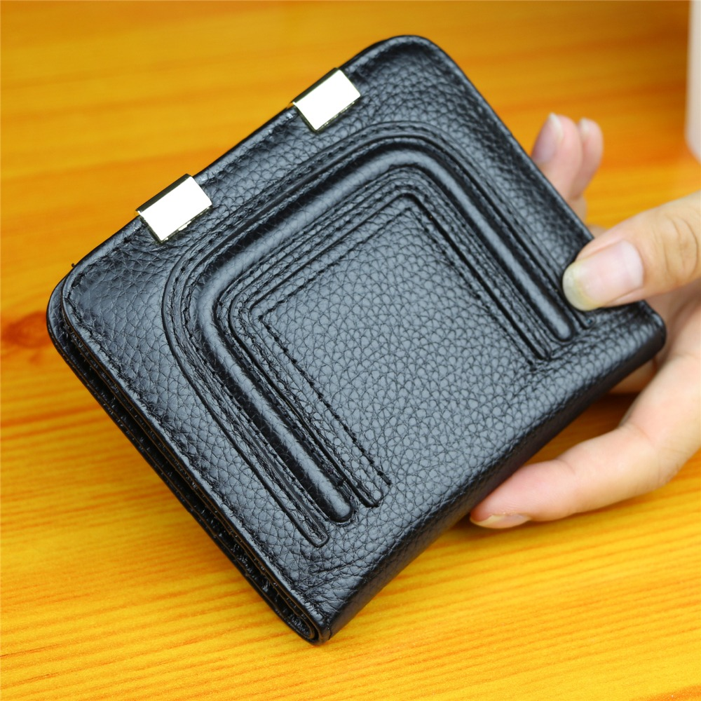 Soft Cow Leather Clips Women Zipper Wallets Genuine Leather Mini Hasp Small Short Money Coin Purse ladies Clutch Card Holder(China (Mainland))