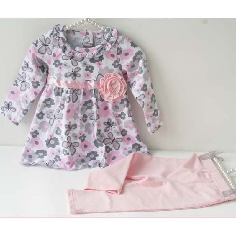 Baby products Girl Rompers Clothing set, Kids infant shirt+pants Wear Suits girls decoration applique - Brown Bear store