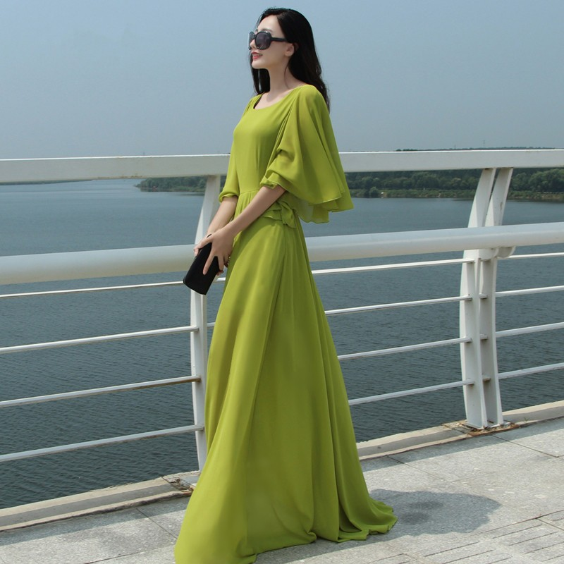Фото платье шифоновое в пол с длинными рукавами