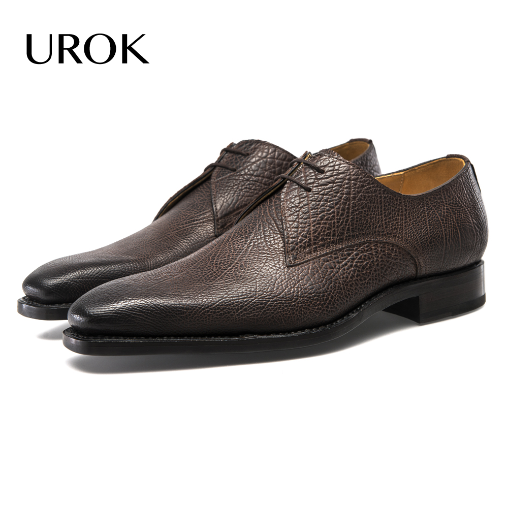 UROK Full Grain Leather Oxford Men Shoes Spring Luxury Brand Goodyear Mens Dress Flats Lace Up Brown Plain Square Toe Suit Shoes(China (Mainland))