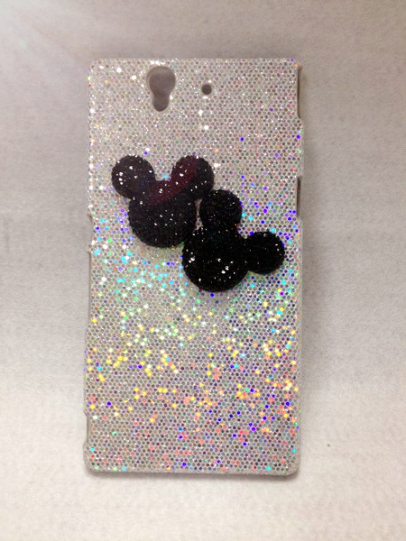 Cute Mickey Luxury Bling Glittering Hard Cover Case for Sony Xperia Z L36H High Quality Cell Phone Case hard shell