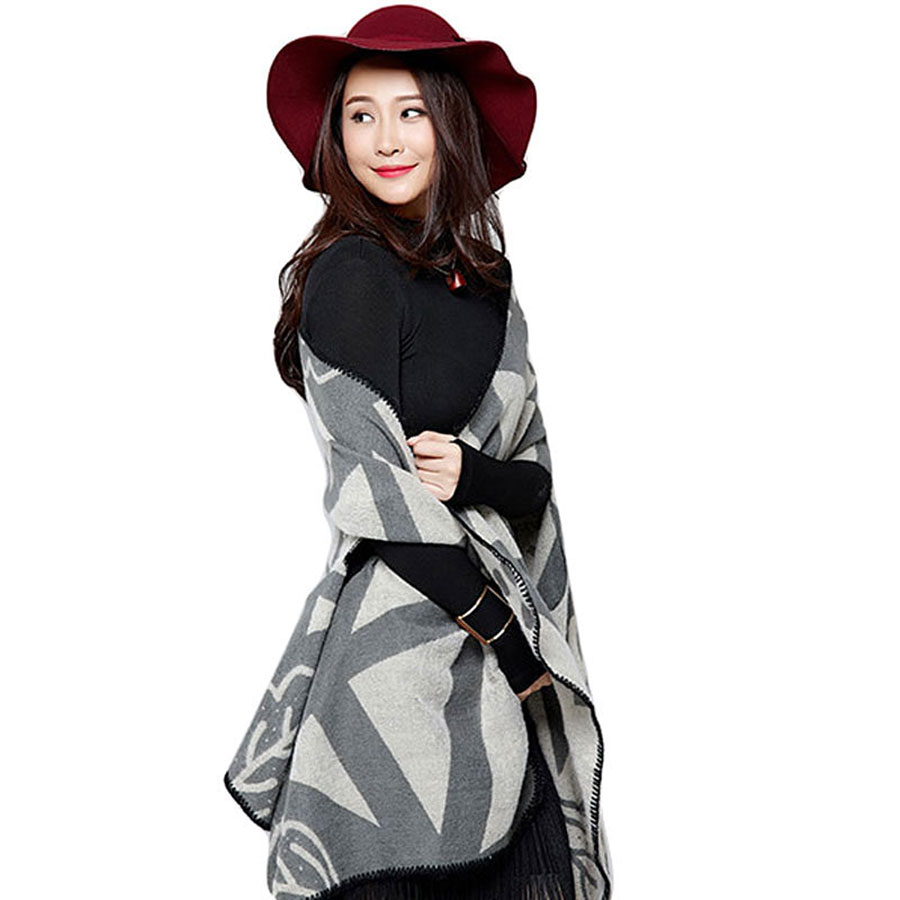 Fall/Winter Shawls 2015 New Casual Womens Batwing Sleeve Cape Woolen Poncho Jacket Lady Winter Warm Hooded Cloak Coat(China (Mainland))