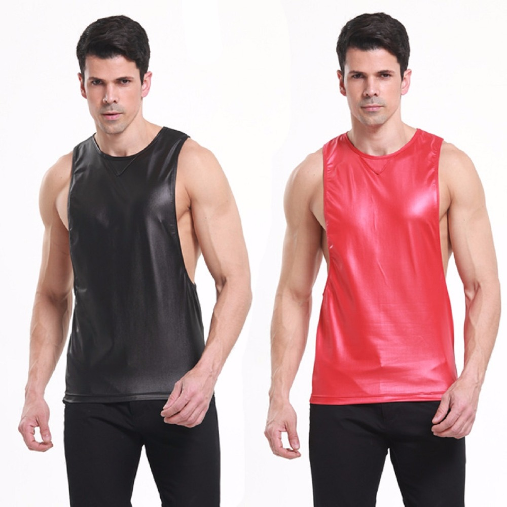 New Fashion Faux leather Men's Gym Tank Tops Low Cut Armholes Vest Sexy Men's Tank Man Muscle Man's Fitness Sport Suit on Sale(China (Mainland))