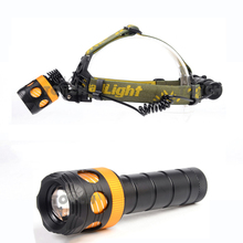 High power 2000LM cree xml t6 LED Headlamp rechargeable head light zoomable mini led flashlight for 1*18650 and 3*AAA