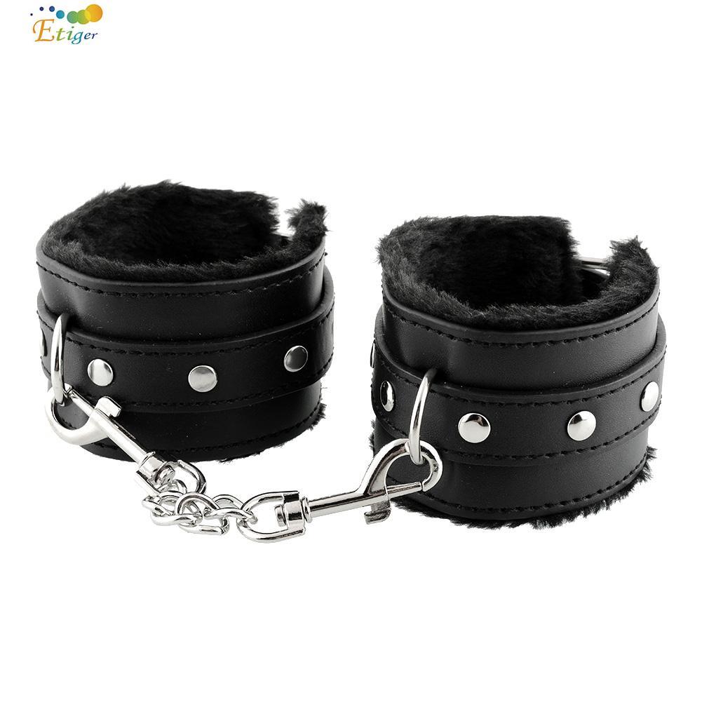 Black Soft PU Leather Handcuffs Restraints Bondage Sex Products Sex Toys Costume Tools