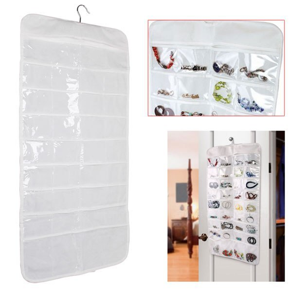 Jewelry Display Portable Double Sided 72 Pockets Dress Hanging Jewellery Organizer Clothes Shape Storage Hanger Bag(China (Mainland))