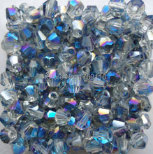 Free shipping Shining blue 100pcs 4mm Bicone Austria Crystal Beads charm Glass Beads Loose Spacer Bead for DIY Jewelry Making