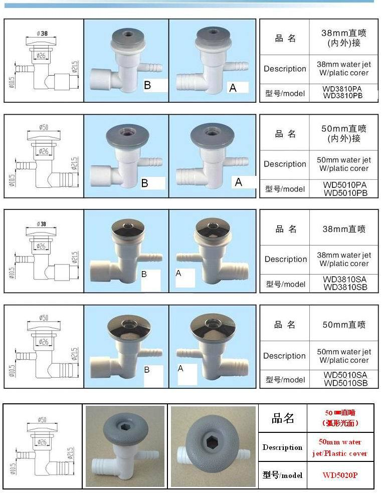 China bathtub air nozzles bubble jets 1inch 2 inch water jet plastic and s.s for china spa(Hong Kong)