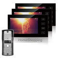 FREE SHIPPING New 7 Color Screen Video Door phone Intercom System 3 Touch Monitors 1 Waterproof