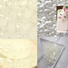 1000pcs 2mm charming white pearl half flat surface beads gems nail diamond jewelry DIY decoration