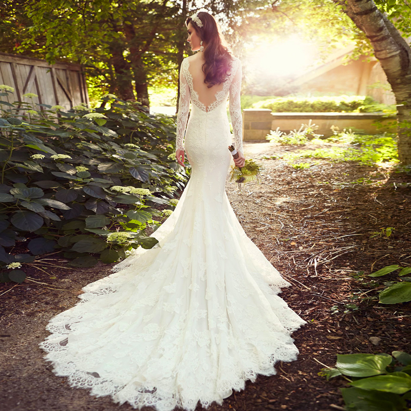 wedding dresses with long train 2014 women long sleeve wedding dress