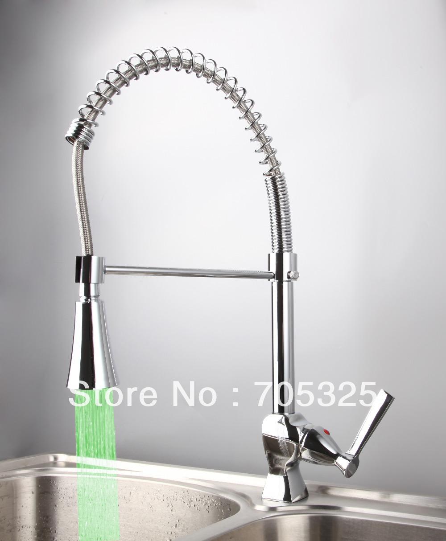 Фотография New Led Ceramic Single Handle  Deck Mounted Chrome Finish Contemporary Polishing Kitchen Mixer Tap Faucet L-8087