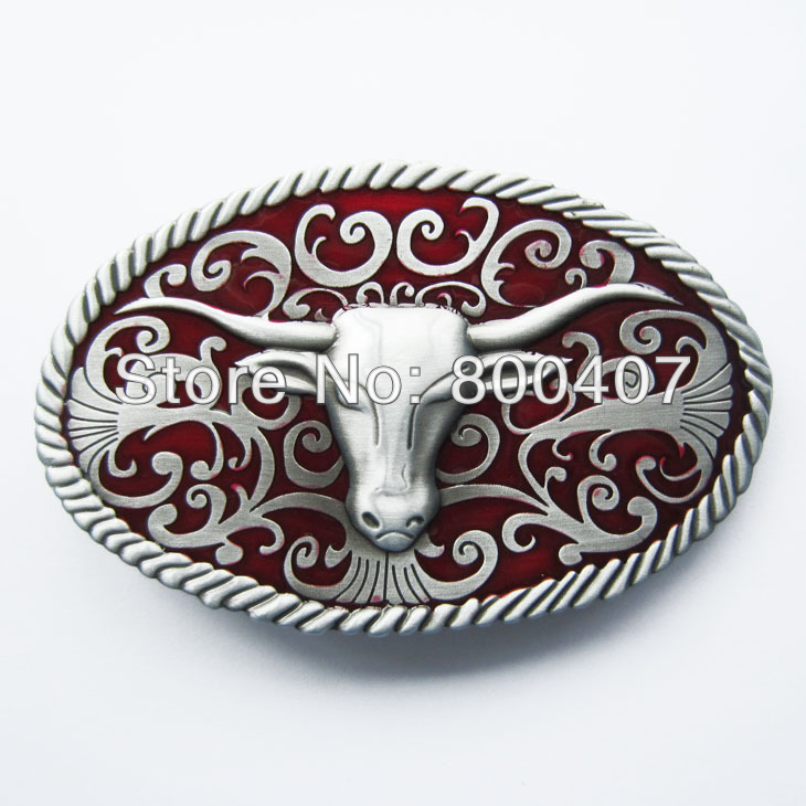 Retail Distribute Red Longhorn Bull Western Belt Buckle BUCKLE-WT015RD Free Shipping(China (Mainland))