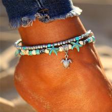 Jeśli mi czeski wiele warstw rozgwiazda żółw koraliki obrączki dla kobiet w stylu Vintage Boho Shell łańcuch bransoletka na kostkę plaża biżuteria(China)
