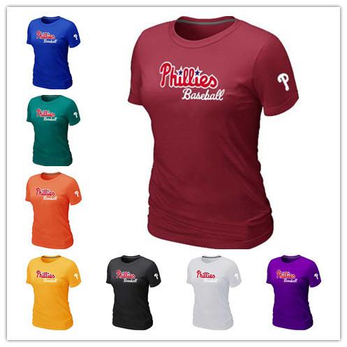 Cheap Philadelphia Phillies Women Baseball T Shirt Short Sleeve Practice T-shirt wholesale Cotton Phillies Tees Shirts 14 Colors(China (Mainland))