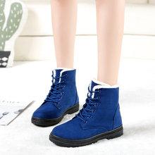 Kar botları 2020 klasik topuklu süet kadın kış botları sıcak kürk peluş taban ayak bileği çizmeler kadın ayakkabıları sıcak dantel-up ayakkabı kadın(China)