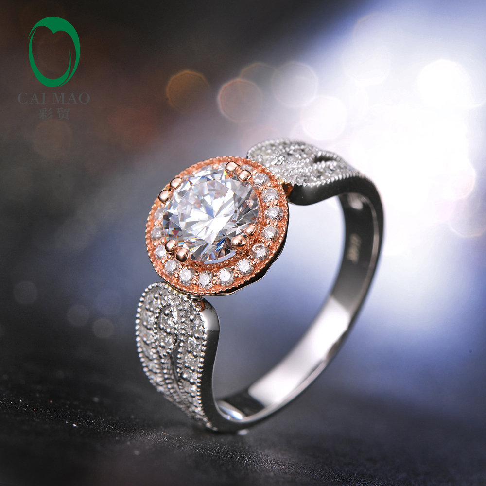 6mm Round White CZ Pave Diamonds 14K Rose and White  Gold Engagement Wedding Ring<br><br>Aliexpress