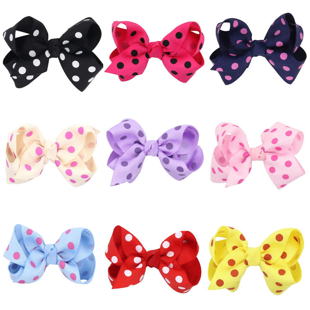 Lovely 14 colors printed dot Wrap clip barrettes Children infant hairpins point bow Ribbon baby Accessories(China (Mainland))
