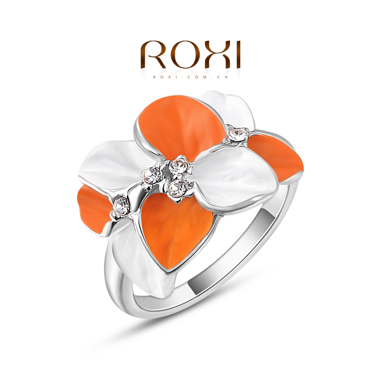 ROXI Unique Design 18K Real Gold Plated Orange Stellux Austrian Crystal Flower Ring FREE SHIPPING!(China (Mainland))