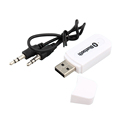 White Color USB Wireless Bluetooth 3 5mm Music Audio Car Handsfree Receiver Adapter for phone for