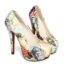 2016 Marilyn Monroe Pattern Sexy High Heels Brand Women Pumps Ladies Shoes Woman Chaussure Femme Zapatos Mujer sapato feminino
