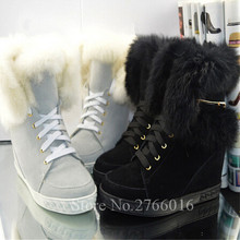 Caliente de la Pluma Mujer Botas de Piel de Invierno Caliente de Calidad Superior 8 cm Aumento de la altura Pisos Cuña Atan Para Arriba Botas de Nieve de Moda Mujer zapatos(China (Mainland))