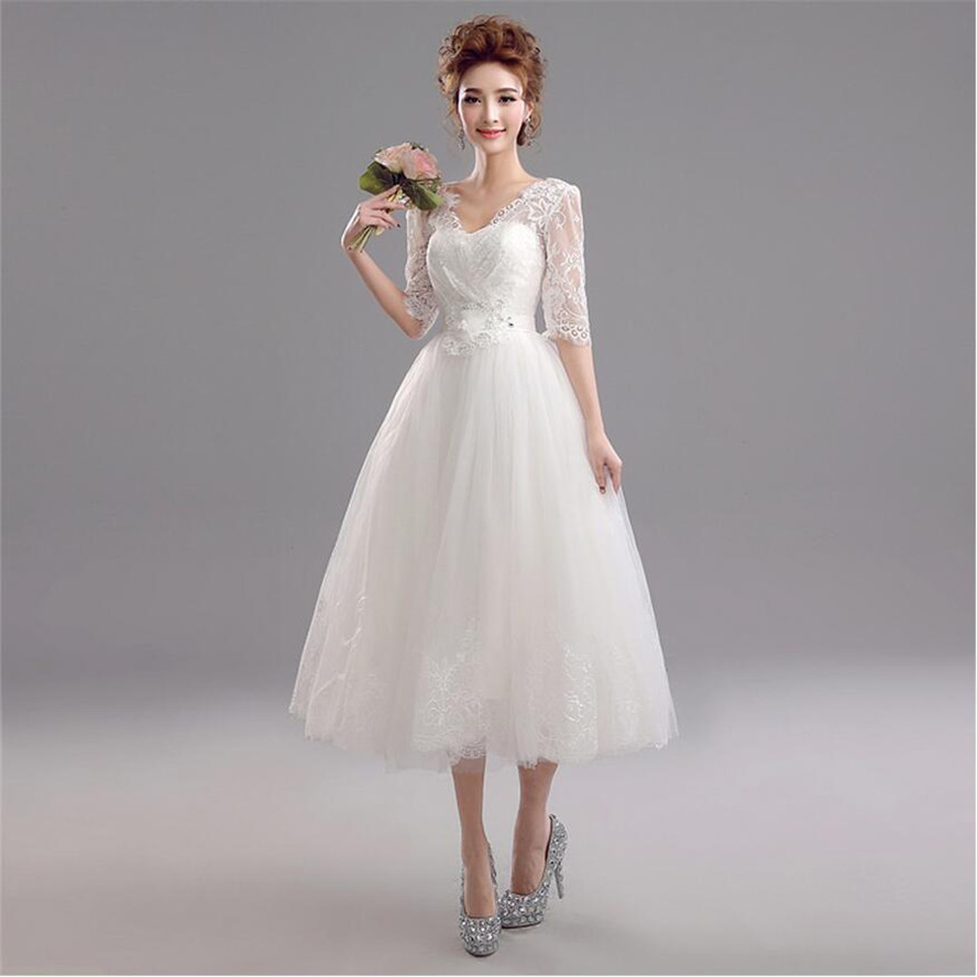 Buy vintage style half sleeve lace mesh for Lace mid length wedding dresses
