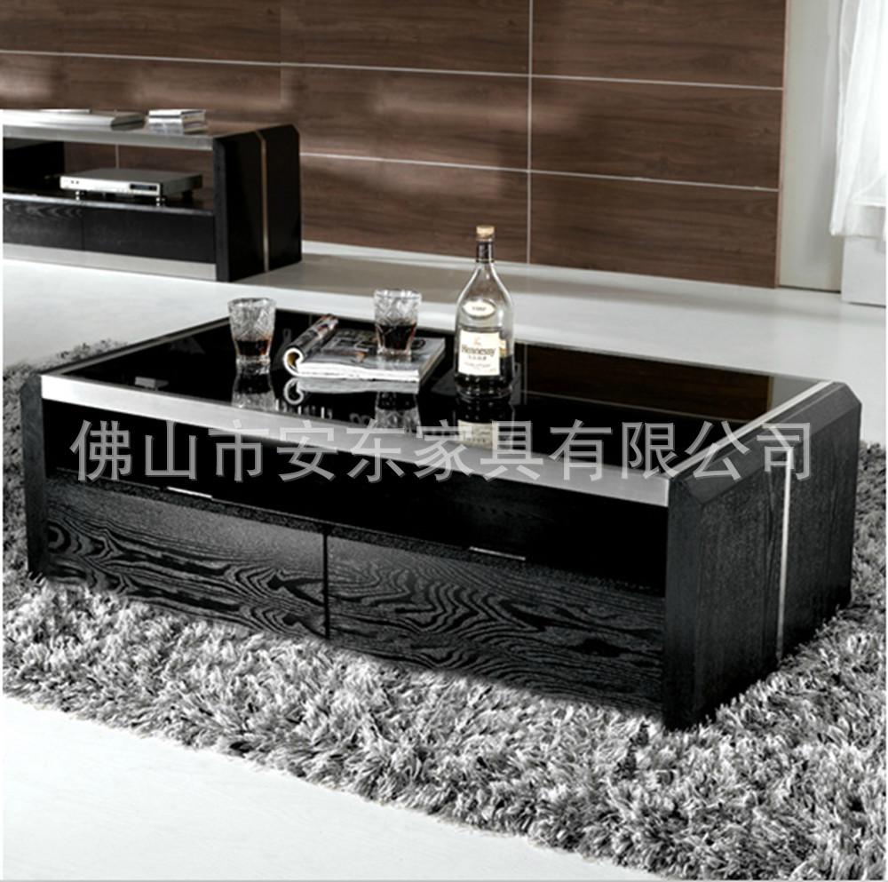 Zwart hout salontafel glazen salontafel met twee laden classic ...