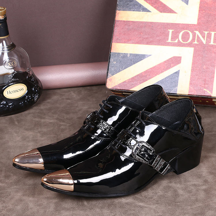 2016 Hot Sale Fashion High Quality Genuine Leather Shoes Men Lace-Up Gold Metal Tip Men High Heel Party Shoes Black Suit Shoe<br><br>Aliexpress