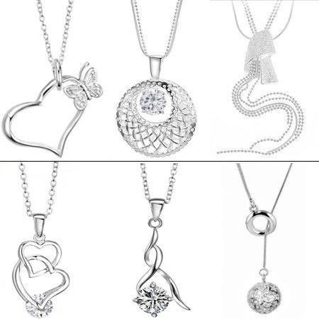 OPK JEWELRY 10pcs/lot MIXED ORDER Silver Plated Pendant Necklace Austria Crystal Stone Wedding Finger Bands Free Shipping